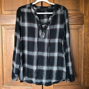 SANCTUARY PLAID V-NECK LACE UP BLOUSE BLACK L